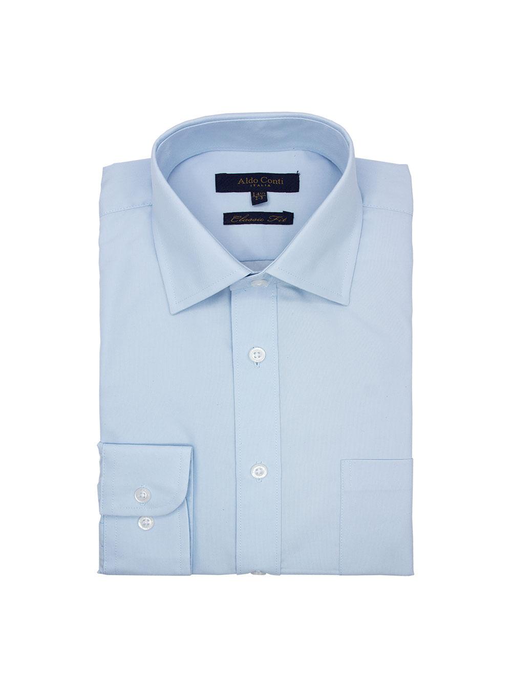 Camisa De Vestir Color Cielo Marca Aldo Conti