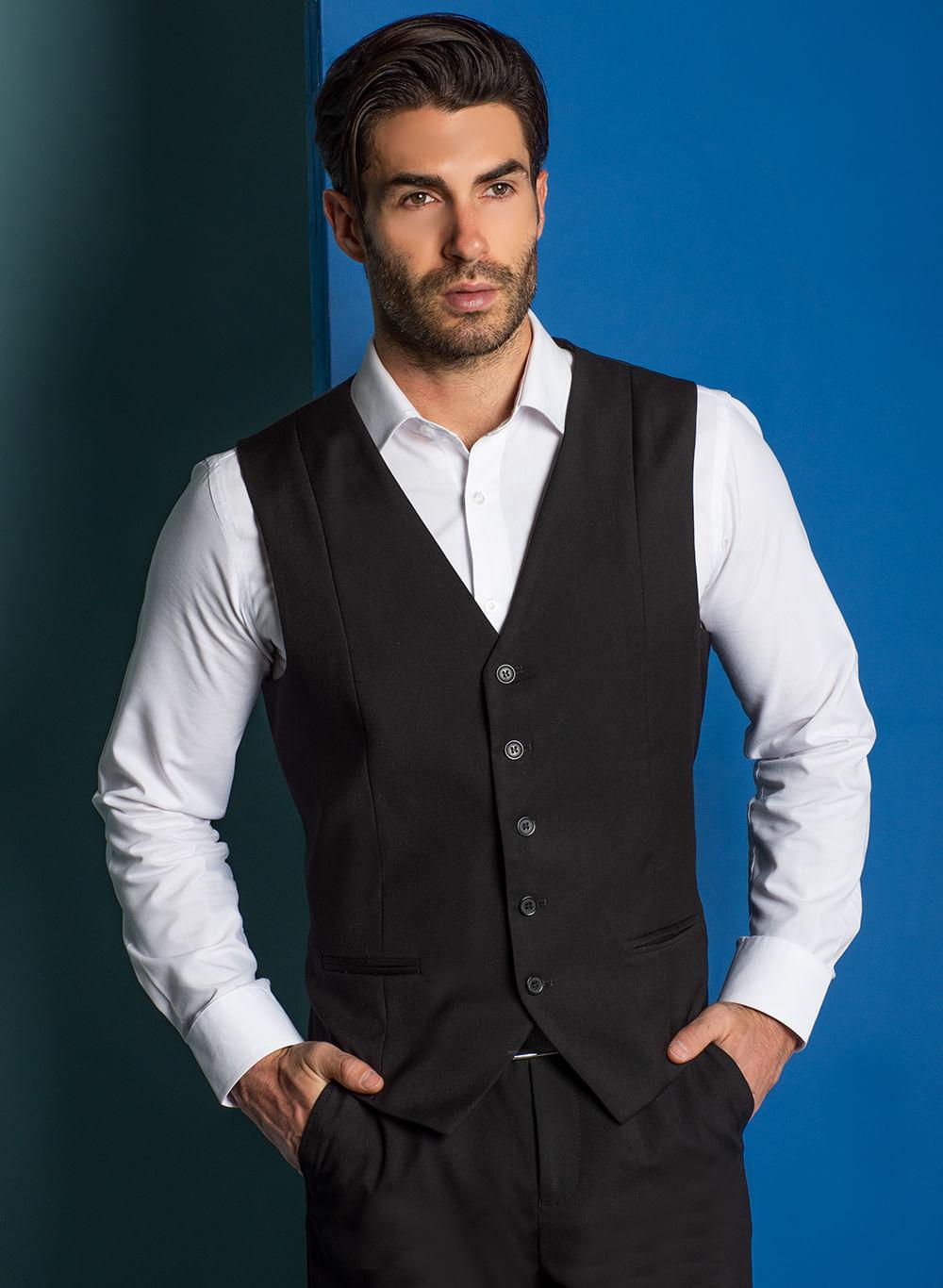 Chaleco Vestir Color Negro Marca Aldo Conti Black