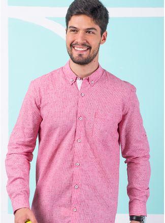 Camisa--Casual-Color-Rojo-Marca-Vermonti.-Composicion---55-LINO-45-ALGODON